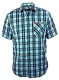 Funktions-Hemd Freizeit-Hemden Herren Kurzarm von Fifty Five - André black/blue check 2XL - Halbarm Hemd mit Quick-Dry und UV-Schutz für Outdoor-Bekleidung