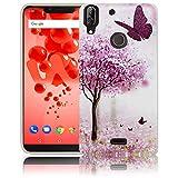 thematys Passend für Wiko View 2 Plus Kirschblütenbaum Schmetterling Handy-Hülle Silikon - staubdicht stoßfest und leicht - Smartphone-Case