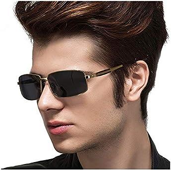 TosGad Rettangolari Occhiali Da Sole Polarizzati Uomo Metallo Ultraleggero 100% UVA UVB Protezione (Dorato/Grigio)