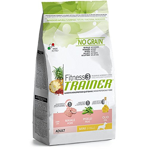 Trainer Fitness 3 No Grain Mini con Maiale Piselli e Olio 2kg, Multicolore, Unica
