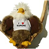Weißkopfseeadler Plüsch Spielzeug mit T-shirt mit Aufschrift Ich liebe Ramone (Vorname/Zuname/Spitzname)
