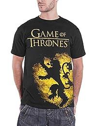 Game of Thrones T Shirt House Lannister Crest Spray Logo Official Mens Black