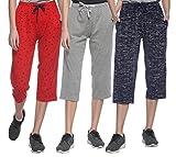 Shaun Women's Cotton Capris (Red, Grey, Dark Blue, XL)
