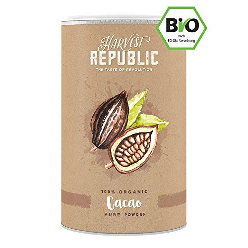 Natürliches Bio-Kakaopulver 125g - HARVEST REPUBLIC - perfekt für Shakes, Smoothies & Quark - 100% pures Kakaopulver - ohne Zusätze - (Roh-zucker)