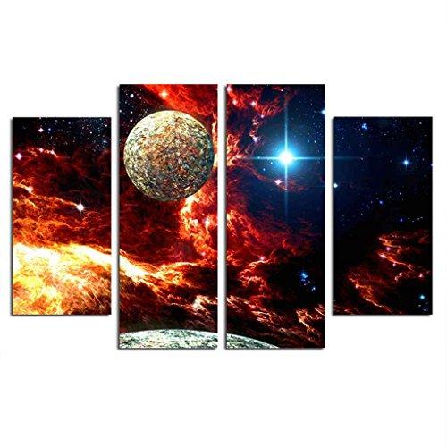 Bomcomi 4 Paneles Galaxy Oil Universo Pintura Cielo