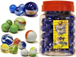 90+1 Glass Marbles Toy in a Jar Stand...