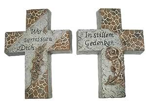 Deko Kreuz aus Keramik mit Inschrift 17,5 cm