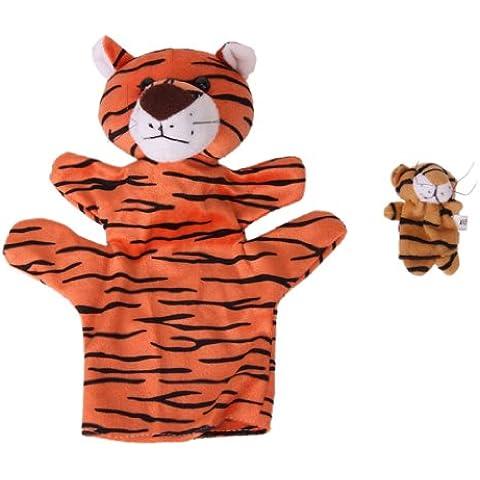 Juguete De Mano Tigre Marioneta de Dedos Marioneta de Color Naranja