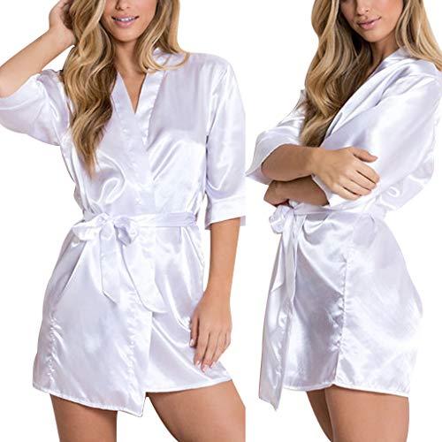 LUGOW Morgenmäntel Damen Satin Babydoll Schlafanzüge Bademäntel Leidenschaft Teddy Kimono Pyjama Sexy Nachtwäsche Nachthemden Unterwäsche(Medium,Weiß)