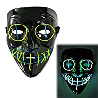 BIUYYY Scary LED Halloween Mask, Terrible Costume for Halloween Cosplay Carnival Parties, Powered Battery (Not Included)