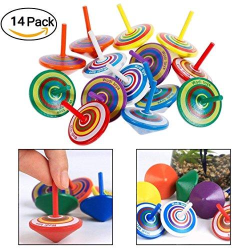 FunRun 14 Piezas Juego peonzas trompos Madera peonza trompo Juguete, Mini Colorido Giroscopios de Madera Artesanales para Juguetes de Fiesta Infantil (Color Aleatorio)