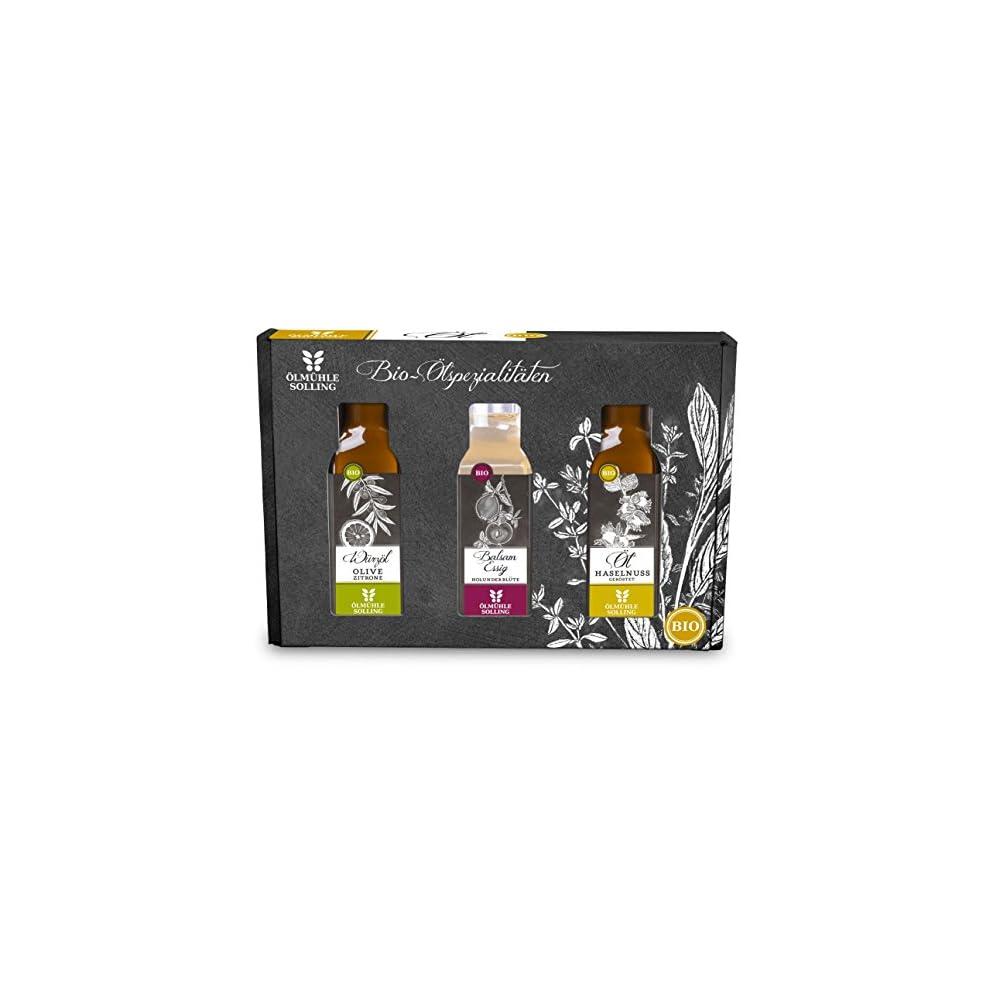 Lmhle Solling Set Essig Und L Bio 3 X 100 Ml Flaschen Inhalt Holunderbltenbalsamessig Haselnussl