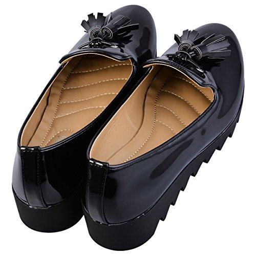 Hengfeng Mode féminine en cuir à talons plats Anti Skid Chaussures 1346-17 Noir