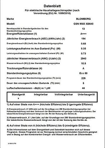Blomberg GSN 9583 XB640 Geschirrspüler - 3
