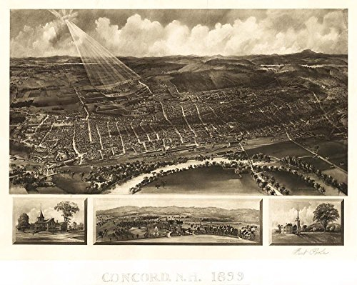 MAP AERIAL BIRDS EYE VIEW CONCORD NEW HAMPSHIRE 1899 ART PRINT POSTER LF2547 Concord Eye