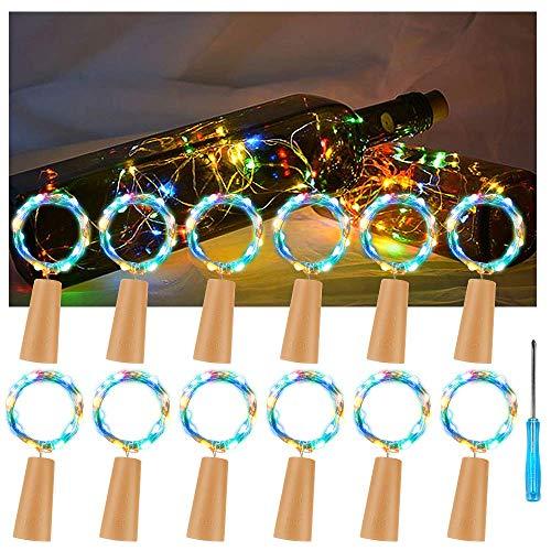 12x 20 LED Flaschen-Licht, Vegena Kupferdraht Cork LED Lichterketten Nacht Licht Weinflasche Flaschenlicht Sternenlichter für Hochzeit Party Romantische Weihnachten Halloween Hochzeit Deko Licht Nacht Licht