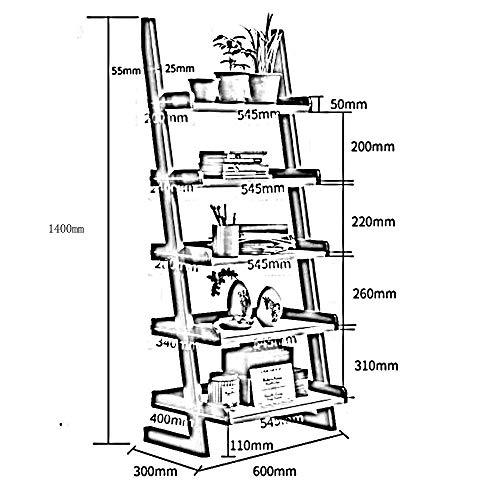 MDD Regalleiter Bücherregal Bücherregal Leiter Holzleiter Regal Bücherregal Stil Regal Platzsparend und einfach zu installieren,Nussbaum -