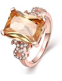 AMDXD Schmuck Vergoldet Damen Ringe (Eheringe) Orange Rechteck Weiß Gr.57 (18.1)