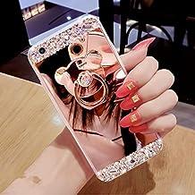 Funda Samsung Galaxy S6 Edge Plus caso,Galaxy S6 Edge Plus Bling TPU Silicona Cromado Espejo Caso,EMAXELERS Funda para Samsung Galaxy S6 Edge Plus Suave Flexible Lujo Caso Shockproof Slim Funda Lindo Bling Glitter Espejo Volver caso patrón Sparkle Frame Parachoques Silicona Transparente TPU protección Cubrir Back Cover para Samsung Galaxy S6 Edge Plus with 1 x Stylus Pen,Rose Gold Mirror TPU with Bear Ring Stand Holder