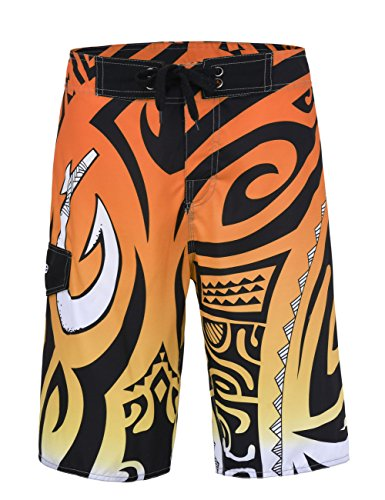 Nonwe Herren leichte Quick-Dry Strand Shorts mit Futter Orange Muster 28 (Dry Quick Shorts)