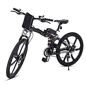 Teamyy Vèlo Homme Pliant-Electrique Mountain Bike Noir Bicyclette Pliable 26 Pouces Vitesse Jusqu'à 30 km / h P?500W