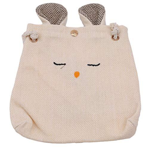 Kingus Cute Rabbit Shaped Geldbörse Candy Geschenkbeutel Leinwand Aufbewahrungstasche Umhängetasche, cremig-weiß
