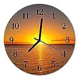 DekoGlas Glasuhr 'Sonnenuntergang orange' Uhr aus Acrylglas, rund große Motiv Wanduhr Ø30 cm, lautlos für Wohnzimmer & Küche