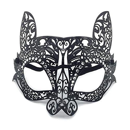 WBCAGN maskenball in der eisernen Maske Kaninchen Cosplay Partei Requisiten Diamond Metall Halbe Gesicht Katze Gesichtsmaske Halloween,Katze schwarz (Katze Halloween Schwarze Gesichter)