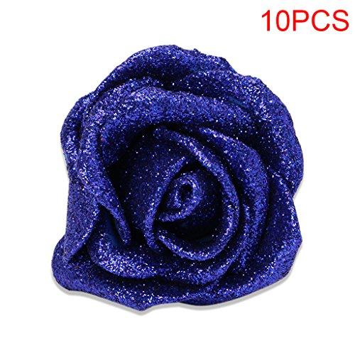 Qisuw 10Pcs Künstliche Schaumstoff-Rosen Blumen mit Glitter Glitzer Puder Braut Bouquet für Home Garden Party Hochzeit Decor Art Deco Blau