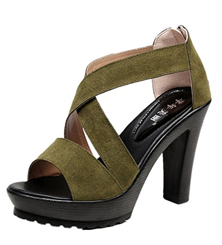 Wealsex damen sandalen plateau sommer schuhe Dunkelgrün