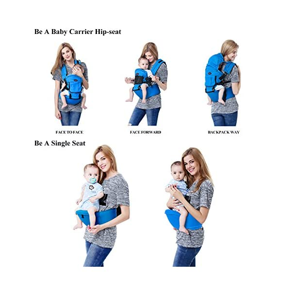 Baby Carrier Front and Back Hip Seat Newborn to Toddler Multiple-position with Detachable Sleeping Hood and Pocket Breathable for All Seasons  Multiple Carrying Positions: Baby on the front, on the back and on the hips; Suitable from newborn to toddler (3-36 months)from 7 to 44 lbs (3 - 20 kg) Comfortable & Breathable Material: Made with high quality cotton that is comfortable and cozy for your baby. All Seasons: Detachable front pocket can handle different weather conditions and make your baby feeling cool in summer, warm in winter and comfortable in spring and autumn. 4