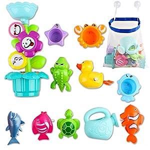 deAO Kids Badespaß Blumenregner mit Gießkanne, Wasserrad und bunten Stapelbechern; Aufziehbares Badespielzeug für Tiere und Aufbewahrungstasche für Badespielzeug aus Mesh.