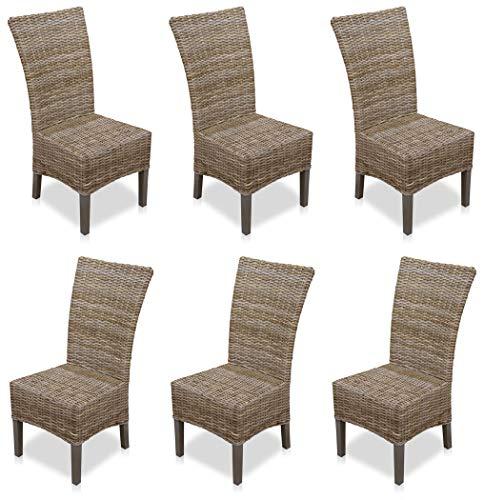 KMH®, 6er Set Esszimmerstühle aus Rattangeflecht in grau (#400209)
