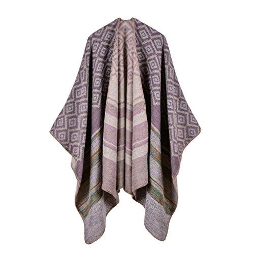 Honghu Cape Poncho Femme Tricot,Poncho Capes Châle Ouverture Extra Large écharpe Châle Poncho Automne Hiver Violet clair