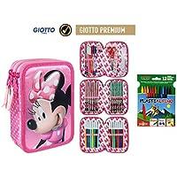 Plumier Estuche Premium de Cremallera Triple 3 Pisos Minnie Mouse 43 Piezas Contenido Giotto + Regalo 12 Ceras Alpino Plastialpino