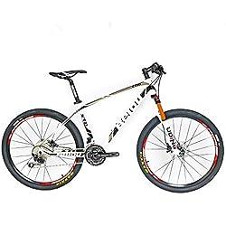 BEIOU®, Bicicleta de montaña de fibra de Carbono, Hardtail MTB Shimano M610Deore, 30Velocidades, ultraligera 10.65kg, RT 26guiado de cables interno profesional, Toray T800bujes de carbono brillante CB018., color plateado, tamaño 17-Inch, tamaño de rueda 26.00 inches