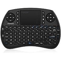 EgoIggo Mini Clavier (AZERTY) Sans Fils avec Touchpad, Mini Clavier Wireless Télécommande- compatible avec Raspberry Pi 3, Android tv box, mini PC, Ordinateur Portable, Projecteur