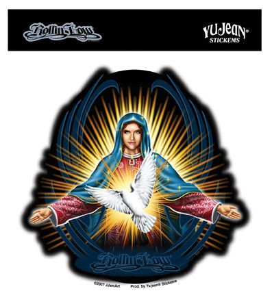 rollin-low-blessed-virgin-and-dove-etiqueta-sticker-5-x-5-weather-resistant-long-lasting-for-any-sur