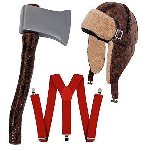 ILOVEFANCYDRESS HILLY Bill HOLZFÄLLER-Lumberjack = KOSTÜM VERKLEIDUNG Halloween Fasching+Karneval Unisex=HOSENTRÄGER+MÜTZE+AXT (Holzfäller Kostüm Axt)