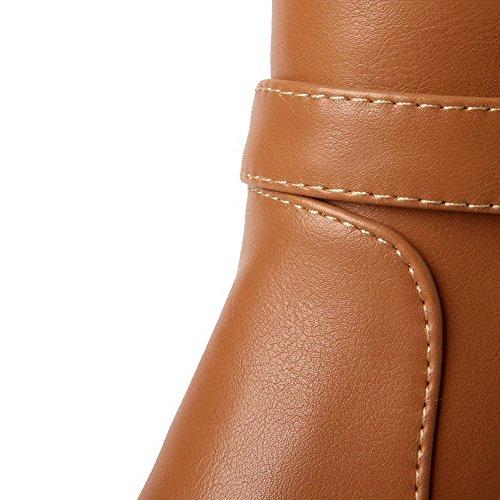 VogueZone009 Donna Cerniera Tacco Alto Luccichio Puro Alta Altezza Stivali con Metallo Marrone