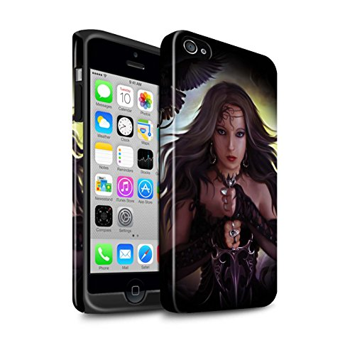Officiel Elena Dudina Coque / Brillant Robuste Antichoc Etui pour Apple iPhone 4/4S / En Feu Design / Super Héroïne Collection Coeur Noir
