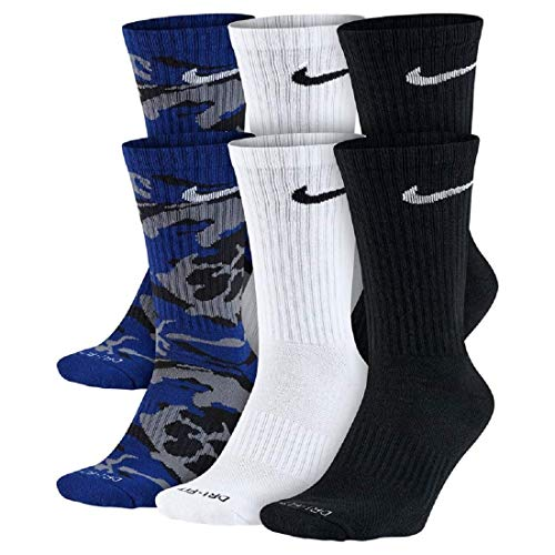 Nike Herren Socken Dri-FIT Performance Crew 6er Pack Large 36-40, Unisex-Erwachsene, blau Camouflage, 8-12 (Athletic-crew Socke Pack 6)