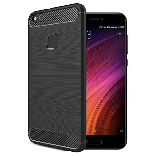 Estuyoya Xiaomi Mi 5C Hülle, Stylisch TPU Silikon [Karbon Design] Robuste Schutzhülle Handyhülle [Anti-Fingerabdrücke] - Schwarz