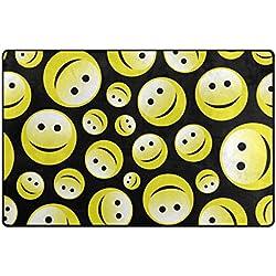 """bennigiry hogar contemporáneo Emoji Smiley Área Rugs 1'7""""x 2' 6"""", moderno Doormats antideslizante alfombra para Living comedor dormitorio pasillo oficina fácil de limpiar Footcloth, Multicolor, 60 x 39 inch"""