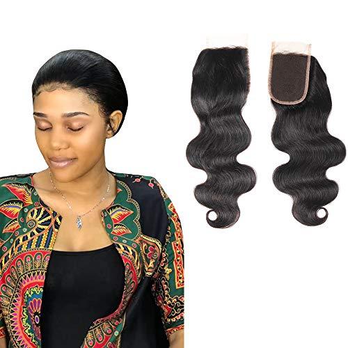 Extension di capelli umani ondulati con chiusura superiore in pizzo, colore nero naturale, 20,3- 55,9cm, 100% capelli vergine, per donna, personalizzabili