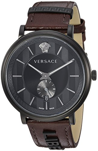 Versace Men's 'THE MANIFESTO EDITION' Quartz Stainless Steel and Leather Casual Watch, Color Brown (Model: VBQ040017)