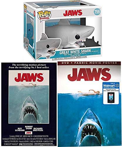 Great Big Shark Attack Jaws The Movie DVD & Bonus Making Of Document + Original Poster Art & Pop Figur weiß mit Tauchtank Exklusives Geschenkset Remastered Edition