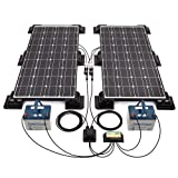 200W Black Solar Panel Kit, Corner/Side Mountings & Cable Entry 20 Amp Dual Battery Controller 5m extension Cable and 2 Branch Connecters - Free Power to charge 12 / 24v Batteries