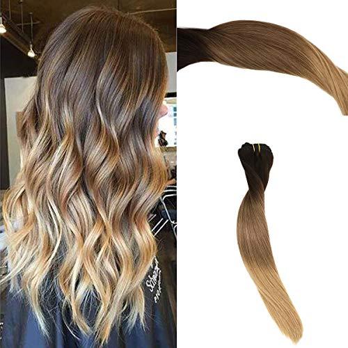 Clip in Haarverlängerung Remy Menschenhaar 8A Brasilianisches Haar 120g 100% Menschenhaar #2T6T27 Ombre Balayage Extension Clip in Extensions 20Zoll/50cm (Volle Spitze Menschliches Haar Verlängerung)