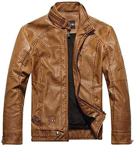 Dicstorets Herren Leder Motorradjacke Mode Distressed Jacke mit Stehend Kragen Gebürstet Herren Jacke - Khaki, XXXL -